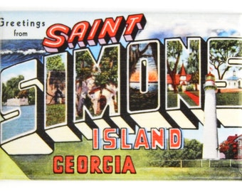 Greetings from Saint Simons Island Georgia Fridge Magnet