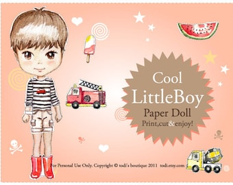 Cool Little Boy Paper Doll - Printable Paper Doll & envelope