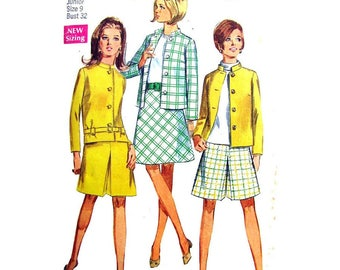 1960s Lined Boxy Jacket, Skirt, Pantskirt Pattern Simplicity 7545 Bust 32 Inverted Pleat Skort Junior Vintage Sewing Pattern