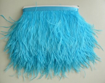 10 yards Ostrich Feather Fringe trim 10-15 cm (4-6 inch), turquoise