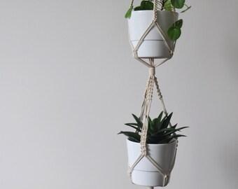 double macrame plant hanger, 2 hanging planters, boho macrame hangers, plant pot holders, wall hanging planters, boho home decor, pot holder