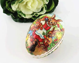 Vintage German Paper Mach'e Nesting Easter Egg - Bunny Rabbit Family Cardboard Candy Containers - Collectible Ephemera