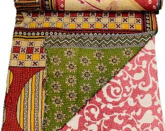 A Vintage Handmade Kantha Quilt, Boho Bedding, Vintage quilt, Kantha Throw, Reversible Quilt VKQ1678