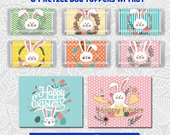 Easter Hershey Mini's Candy Bar Wrapper,Printable favor Bag Tag, Happy Easter set2, Rabbit bunny heads, for Mini bars not Nuggets
