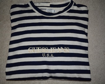 80s 90s CLASSIC Guess Jeans Usa striped long sleeve tee shirt