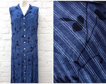 Blue 90's dress, vintage women's fashion, sleeveless summer outfit, grunge