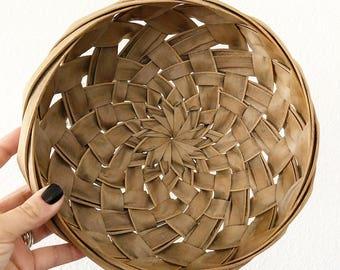 Vintage Round Woven Palm Leaf Basket