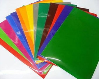 Self Adhesive vinyl 10 mixed colour A5 sheets ideal for craft robo, hobbies, silhouette, cutter, plotter and can be cut with scissors