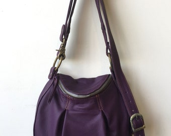 Violet Leather Bag- Made to Order- purple leather bag- violet leather handbag- leather handbag- littlewingsdesigns- crossbody