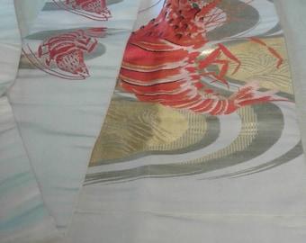 RARE Antique Silk Nagoya Obi with Woven Lobster Motif