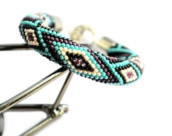 Turquoise Beaded Crochet Bracelet Beadwork Bracelet Geometric Jewelry Beaded Cuff Soft Rope Boho Bracelet Seed Bead Bracelet Gift For Girl