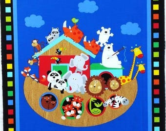 Noah's Ark animals baby's cot quilt or wallhanging cotton fabric panel - make a great handmade baby gift