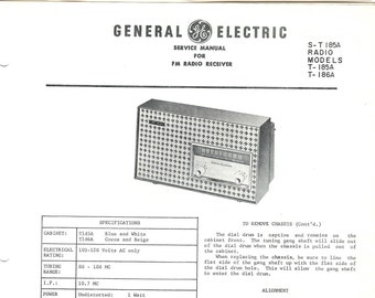 General Electric Vintage Radio Service Manual Excellent Condition 1961 Download PDF Model T-185A T-186A Table FM Radio Receiver