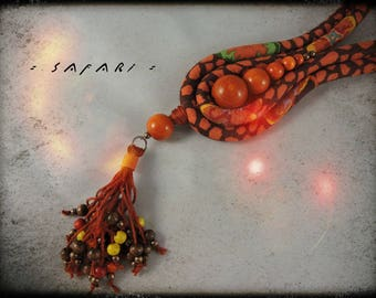 SOLD - SAFARI - fabric necklace in Brown and orange dominant and wooden beads