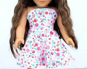 Fits like American Girl Doll Clothes - Simply Summer Bandeau Dress in Carnations   18 Inch Doll Clothes