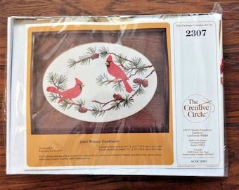 Vintage Retro NOS New Dead Stock The Creative Circle Winter Cardinals 2307 Embroidery Wooden Tray Craft Kit