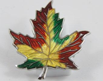 Sterling Silver Enamelled Maple Leaf Brooch