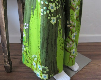 1970's Alice of California Kitschy Cactus Impressionist Water Color Palazzo Pants Size M/L