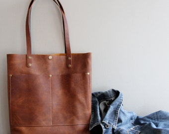 Copper Brown Leather Tote