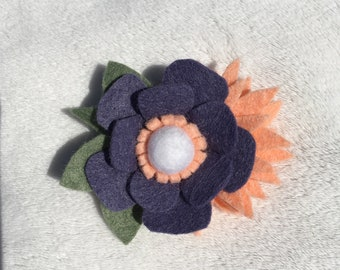 Navy and orange felt flower hair clip// toddler hair clip// adult hair clip