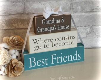 """Gift for Nana. Wood Block Stack: """"Nana's House...Cousins"""" - Christmas gift for Grandma, Nana, Granny. Grandparents Day"""