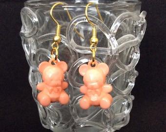Bears earrings, light salmon orange color