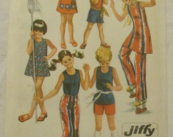Vintage Girls Sewing Pattern Simplicity 9391 Jiffy Dress Shift Jumper Sundress Pants Shorts 1971 Size 6 Easy To Sew Uncut Pattern