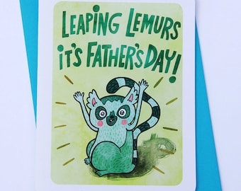 Leaping Lemurs - Father's day card for dad Funny fathers day card Sweet Fathers day card grandpa card cute fathers day card husband
