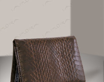Real Cobra Snakeskin Trifold Wallet, Brown - by Implora (#0422)