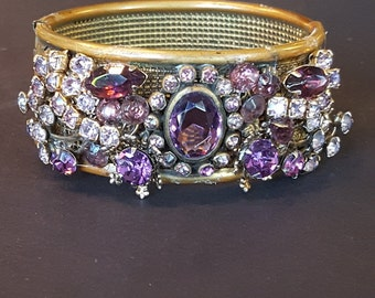 Vintage Bejeweled Cuff, Vintage Cuff, Handmade Cuff, Handmade Bracelet, Vintage Bracelet