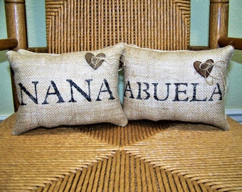 Nana gift, Abuela pillow, burlap pillow, mini pillow, Gigi pillow, stenciled pillow, personalized pillow Mother's day gift, FREE SHIPPING!