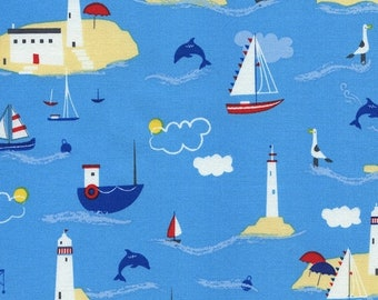 40% OFF SALE - Boating Scenic C2411 Water - Hey Sailor - Timeless Treasures Fabric - By the Yard