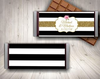 Chocolate Bar Wrapper / Candy Bar Wrapper / Wedding Candy Wrapper / Wedding Favor / Engagement Party / Black and White / Printable Candy
