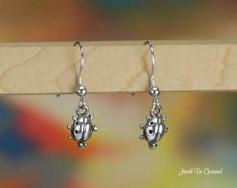 Cute Little Ladybug Sterling Silver Earrings Pierced Fishhook Earwires