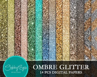 Ombre Glitter Digital Papers , Scrapbook Papers, Vintage Bronze Glitter- Instant Download