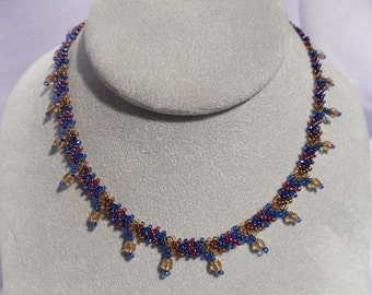 Woven Blue, Red and Gold Beaded Choker