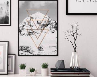 Mountain print, affiche scandinave, Printable Wall Art, mountain wall art, mountain photo, snowy mountain, geometric mountain print