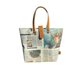 Real newspaper tote with closure- camel brown leather details