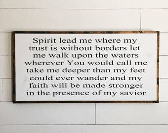 Spirit lead me   trust without borders   custom wood sign   scripture   bible verse   farmhouse sign