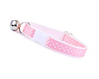 """Cat Collar - """"My Girl"""" - Light Pink w/ White Polka Dots - Breakaway Safety Buckle or Non-Breakaway - Sizes for Cat, Kitten, Small Dog"""