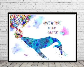 Adventure is out there, Whale, Blue Whale, Ocean art, sealife, Nursery, Kids Room Decor, Up House and Balloons