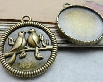 10PCS antique bronze pendant trays couple birds on tree branch 25mm round bezel cabochon mountings- W7532