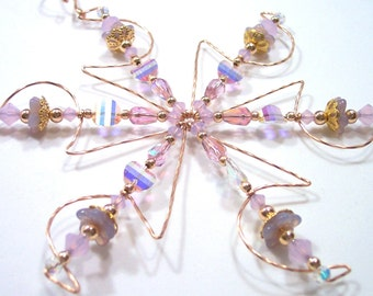 Snowcones Vintage Crystal Snowflake Ornament in Rose Gold Filled / Christmas Gift / Solstice Gift