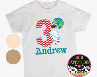 Astronaut Personalized Birthday shirt Any Age Any Name You Pick Your Skin Tone