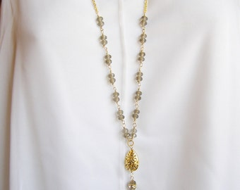 Gold Tassel Necklace, Beaded Tassel Necklace, Long Crystal Bead Necklace, Brown Bead Necklace, Wire Wrapped, Beaded Chain Necklace