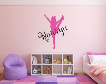 Cheerleader Girl Name Room Wall Decor Vinyl Decal Sticker - Personalized Cheerleader Heel Stretch