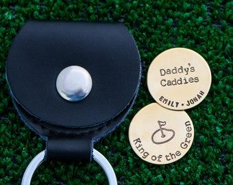Golfer Gift Golf Ball Markers Dad Gift Daddy • Grandpa Birthday Gift Custom Ball Markers Golf • Handstamped Gift Guy Golf Lover