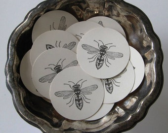 Bee Tags Round Paper Gift Tags Set of 10