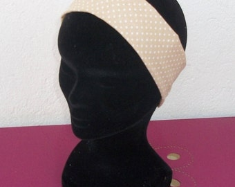 headband for girl in beige cotton fabric