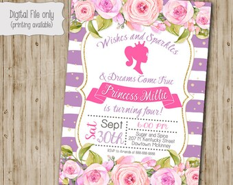 Floral Barbie Invitation, Barbie Birthday, Barbie Party, Barbie Card, Barbie Invite, Vintage Barbie, Boho Birthday Invite, Doll
